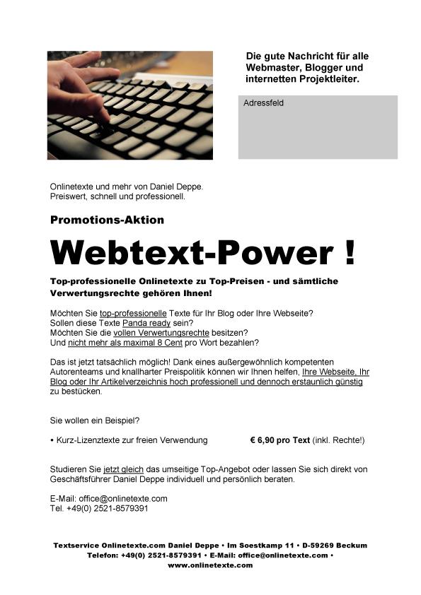 Webtext-Power aus Beckum