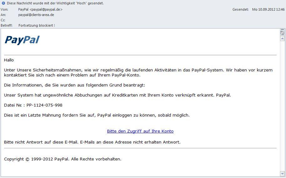 Gefälschte Mails von PayPal