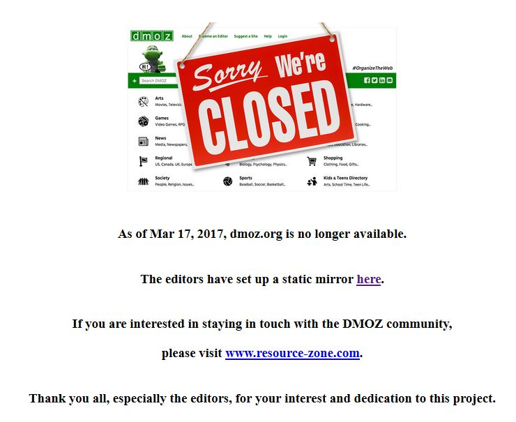 Tschüss DMOZ - Das Webverzeichnis ist geschlossen.
